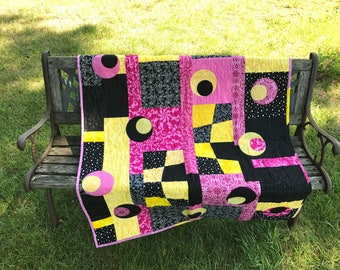 Modern Pink and Black Circle Throw/Baby Quilt
