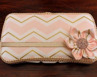 Rose Gold Shabby Chic Chevron Flower Travel Boutique Wipe Case