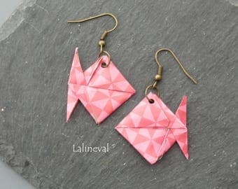 Origami red and pink fish earrings