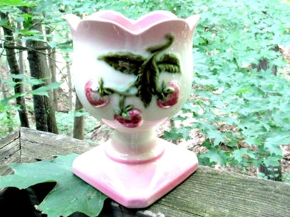 Vintage Hull Strawberry Vase, Strawberry Design