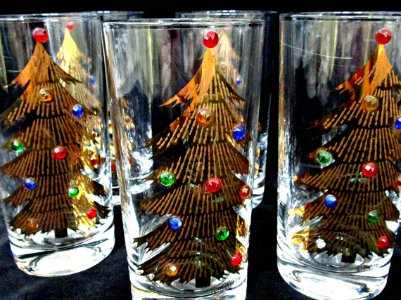 Set of 6 Culver Christmas Tree Barware, Christmas Barware, Culver Barware, Gold Christmas Trees, Faux Jewels, Holiday Housewarming Gift