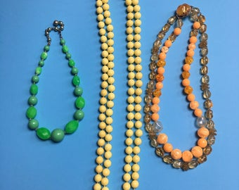 60s Plastic Beaded Necklace Lot - Orange, Green, Yellow