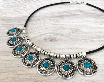 Bohemian Necklace Turquoise Leather Necklace Coin Necklace Charm Turquoise Statement Necklace Boho Jewelry Gypsy Necklace Silver Summer