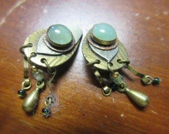Aventurine Silver Copper Brass Clip On Earrings