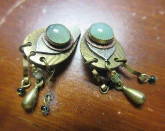 Aventurine Silver Copper Brass Clip On Earrings