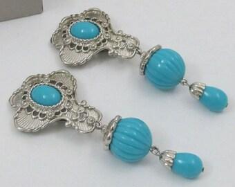 Jose Barrera Turquoise Earrings - Silver Tone Clip On - S2138