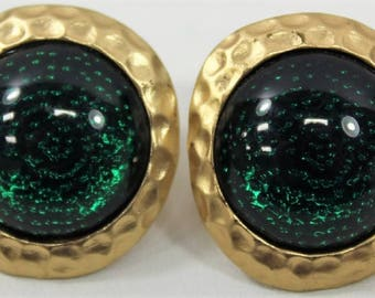 KJL Pierced Earrings - Goldtone with Green Stones - S2366