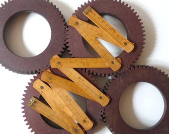 Antique Wood Folding Meter Ruler Pocket Folding Meter Wooden Ruler Collectibles Tools 1930s