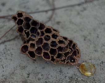 Copper Honeycomb Necklace / Real Bee Hive Wasp Nest / Organic Jewelry / Save The Bees Jewelry