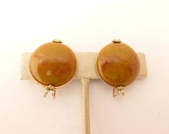 Hillcraft / Castlecraft Butterscotch Swirl Bakelite Gold Filled Clip Earrings