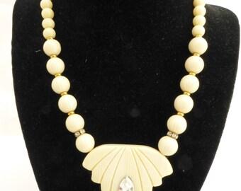 Unique Italian Lucite and Rhinestone Pendant Necklace