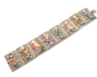 Chinese Export Filigree Cannetille Carved Painted Bovine Bone Figures Vintage Bracelet
