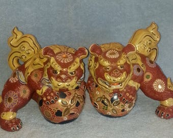 Kutani Foo Dogs - A Pair - Shi Shi Dogs