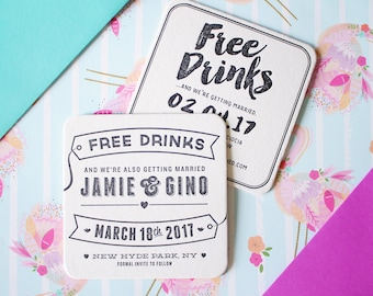 Free Drinks / Letterpress Save the Date Coaster
