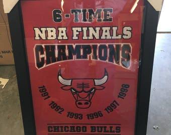 CHICAGO BULLS  6 TIME Banner•Sports Banner•Baseball Banner•Sports Memorabilia