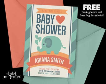 Elephant Baby Shower Invitation, Elephant baby shower, Baby Shower Invitation, Zoo baby shower, Elephant Baby Shower
