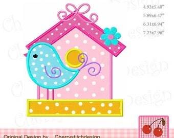 Bird and Birdhouse Machine Embroidery Applique Design - 4x4 5x5 6x6 7x7 8x8""