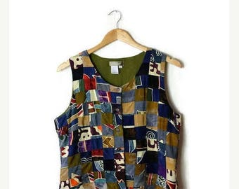 ON SALE Vintage Colourful tie dye Patchwork / Color blocked Vest from 80's*