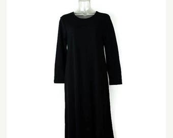 ON SALE Vintage Simple Plain Black Cotton Long sleeve Dress from 90's/Minimal Dress*