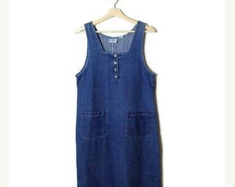 ON SALE Vintage Denim Sleeveless Long Dress /Jumper from 90's*