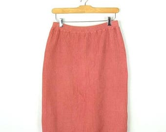 ON SALE Vintage Pale Pink Cotton knitted Pencil skirt from 80's/W24-32*