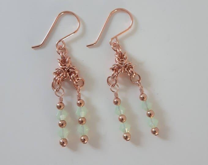 Gilded Green Earrings (Shepherd Hook Style) - CLEARANCE PRICE