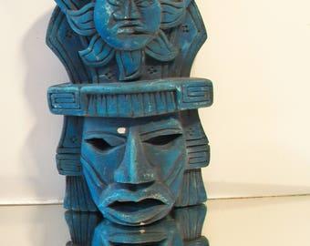 Blue Mayan Aztec Warrior Mask Ethnic Tribal Sun Wall Hanging Home Decor