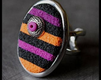 Striped black purple orange fuchsia clay ring