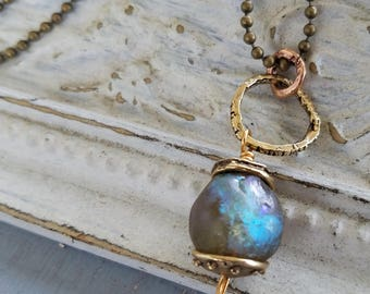 Basha Bead Necklace Brass Ball Chain Handmade Lampwork Bead Necklace Glass Bead Necklace Boho Chic by LizzieTishBoutique