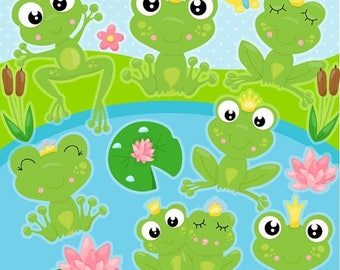 80% OFF SALE Frog clipart commercial use, frogs vector graphics, frog prince digital clip art, frog princess digital images - CL1083