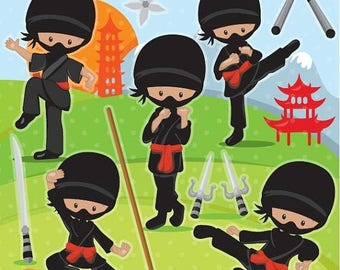 80% OFF SALE Ninja clipart commercial use, african american vector graphics,  darker skin tones digital clip art, digital images - CL1091