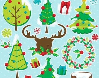 80% OFF SALE Christmas tree clipart commercial use, Christmas clipart, vector graphics, tree digital clip art, Christmas tree image - CL1118
