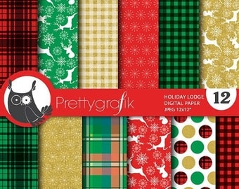 80% OFF SALE Christmas lodge digital paper, commercial use, scrapbook papers, background chevron, holiday - PS765
