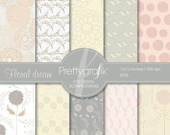 80% OFF SALE flowers digital paper, commercial use, scrapbook papers, background  - PS536