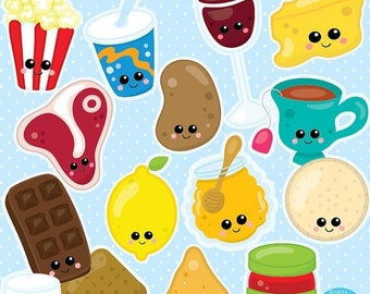 80% OFF SALE Food clipart commercial use, Kawaii Food clipart vector graphics, Perfect pairs digital clip art, chocolate clipart - CL1001
