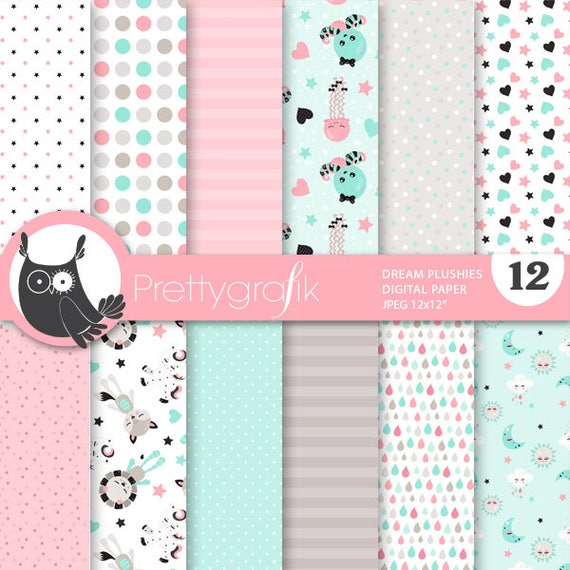 80% OFF SALE Dream plushies digital papers, commercial use, animals scrapbook papers, background, fox - PS861