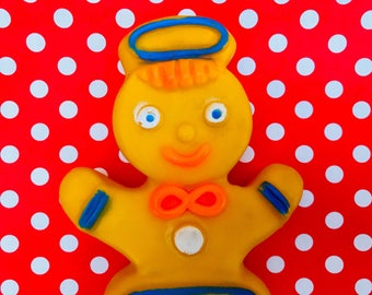 Vintage Plastic Gingerbread Man Baby Toy Dreamland Creations Toy Vintage Baby Toy