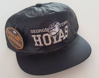 Vintage Georgetown Hoyas Genuine Leather Deadstock Strapback Hat VTG