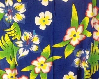 Full Length Fringed Floral Hawaiian Sarong/Pareu Or Pareo.