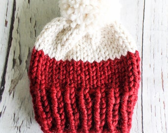 RTS 3-6 month Red and Cream Glitter sparkle color blocked KNIT toque with faux fur pom ready to ship