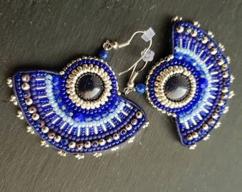 "Embroidered earrings, sandstone, embroidered beads "" AZULEJOS"""