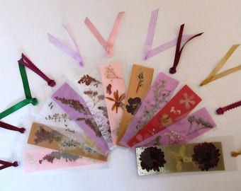 Three Victorian Dried Pressed Flower Laminated Bookmarks, Ribbons, Gift, Party or Shower Favor