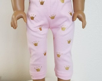 Pink with Gold Crowns Joggers for American Girl Dolls by The Glam Doll