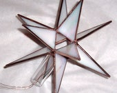 Stained Glass Med.Tree Topper, Iridescent White Glass, Moravian Star, Tree Top Decoration, Christmas Star Ornament, 3-D Star for X'mas Tree