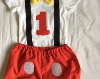 Baby boy first birthday Mickey outfit set 12 months