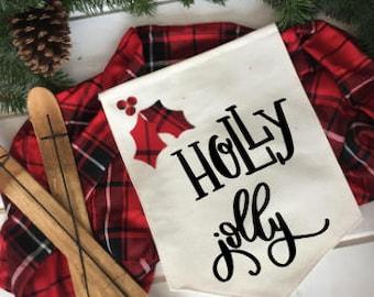 holly jolly red and black plaid christmas/ Christmas wall decor/ christmas decoration/ wall hanging/ farmhouse christmas/ christmas sign