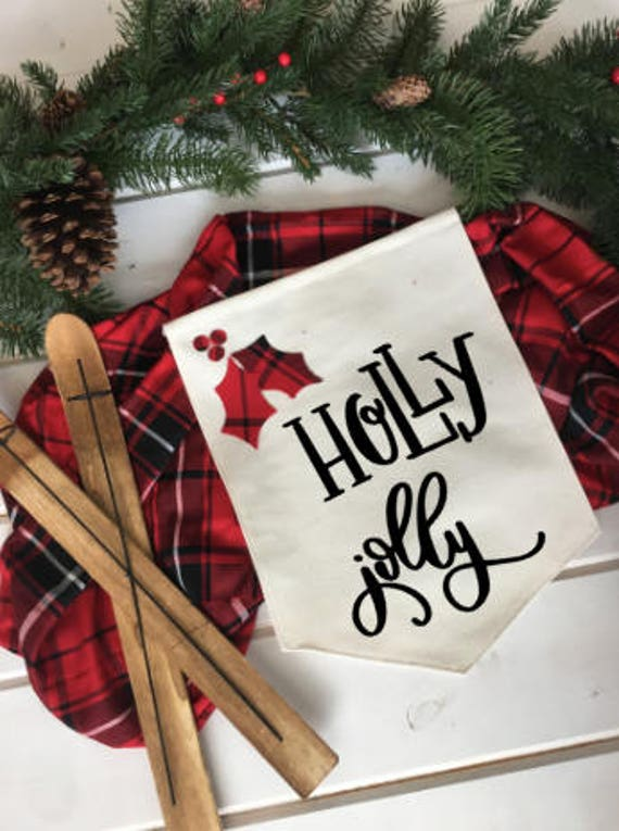 Holly Jolly Red And Black Plaid Christmas Wall