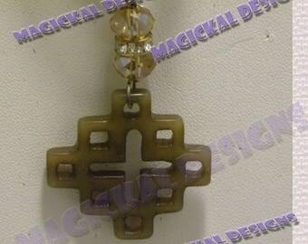 Jade, Pendant, on multi strand Ribbon, brown, copper, burnt jade, necklace, stocking stuffer, teacher gift, under 10 dollars