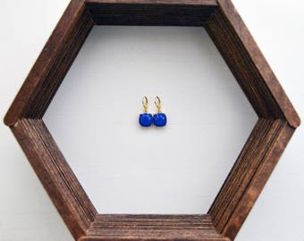 Blue Royal Dangle Earrings with 14k Plated Gold Lever Backs