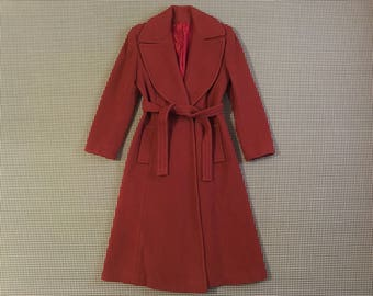 1970's, wooly, belted, wide lapel, coat, in red clay, Women's size Small/Medium